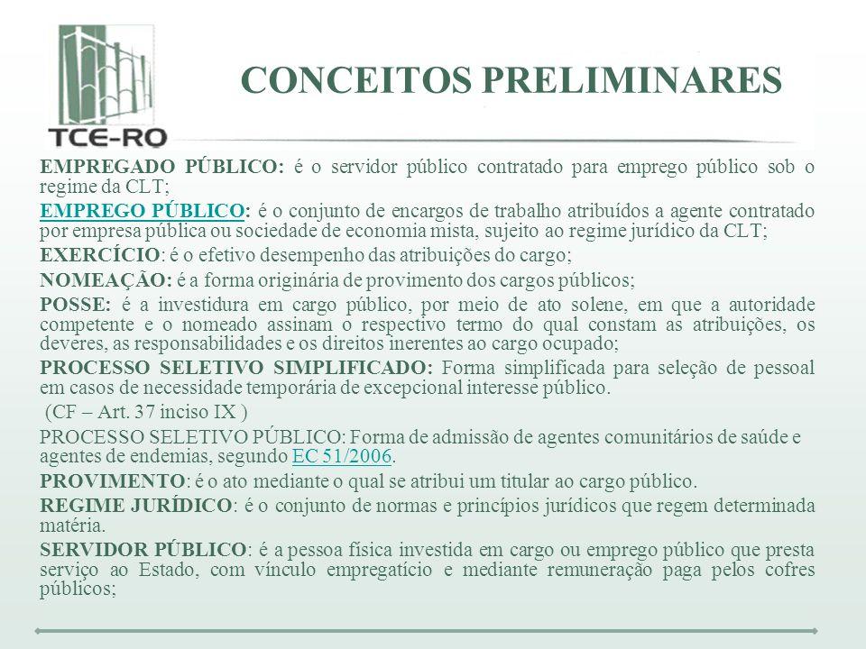 CONCEITOS PRELIMINARES EMPREGADO PÚBLICO: é o servidor público contratado para emprego público sob o regime da CLT; EMPREGO PÚBLICOEMPREGO PÚBLICO: é