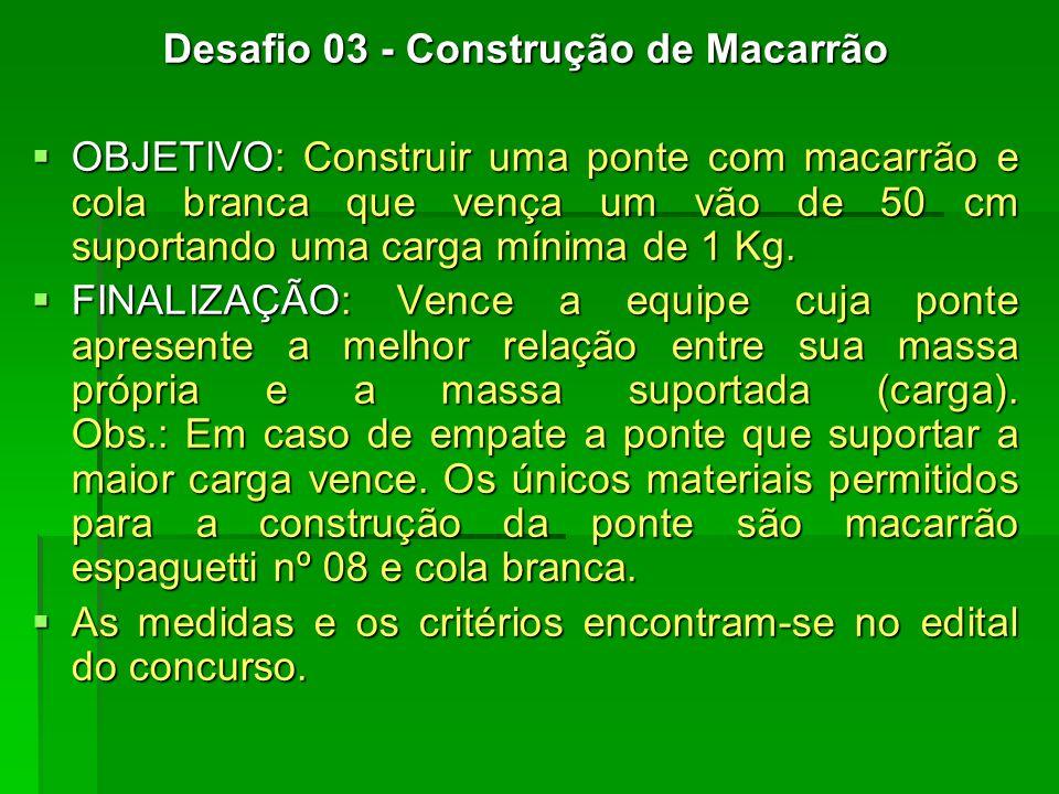 Desafio 03 - Construção de Macarrão OBJETIVO: Construir uma ponte com macarrão e cola branca que vença um vão de 50 cm suportando uma carga mínima de