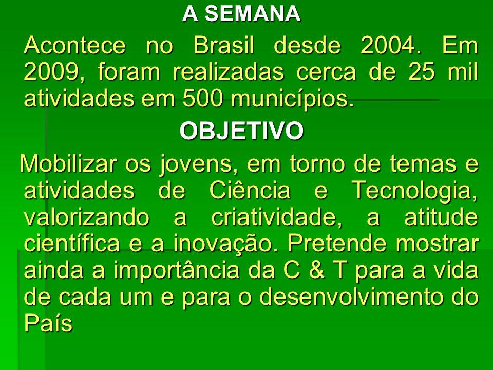 A SEMANA Acontece no Brasil desde 2004. Em 2009, foram realizadas cerca de 25 mil atividades em 500 municípios. Acontece no Brasil desde 2004. Em 2009