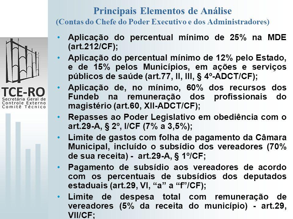 Principais Elementos de Análise (Contas do Chefe do Poder Executivo e dos Administradores) Aplicação do percentual mínimo de 25% na MDE (art.212/CF);