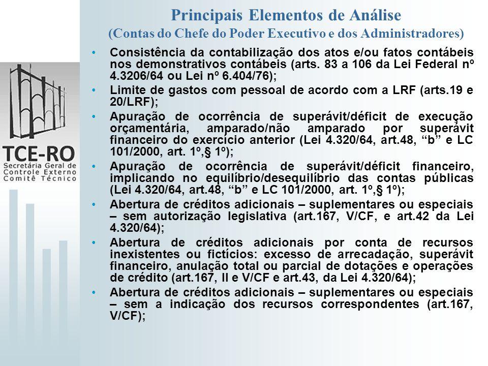 Principais Elementos de Análise (Contas do Chefe do Poder Executivo e dos Administradores) Consistência da contabilização dos atos e/ou fatos contábei