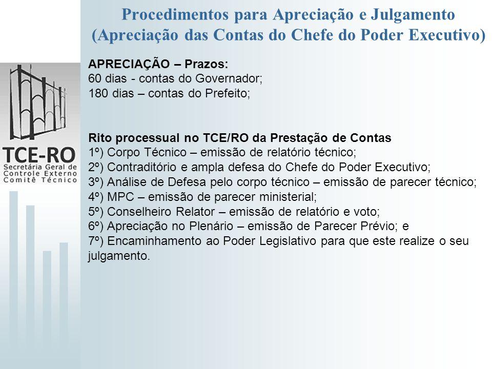 Procedimentos para Apreciação e Julgamento (Apreciação das Contas do Chefe do Poder Executivo) APRECIAÇÃO – Prazos: 60 dias - contas do Governador; 18