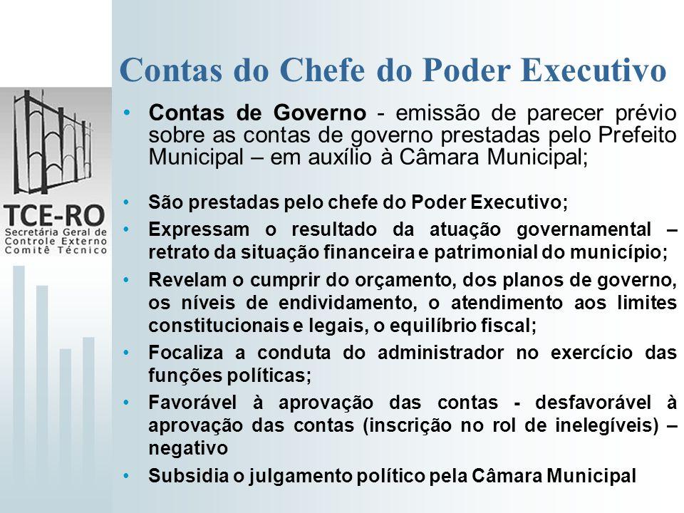 Contas do Chefe do Poder Executivo Contas de Governo - emissão de parecer prévio sobre as contas de governo prestadas pelo Prefeito Municipal – em aux