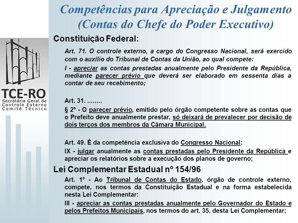Competências para Apreciação e Julgamento (Contas do Chefe do Poder Executivo) Constituição Federal: Art. 71. O controle externo, a cargo do Congresso
