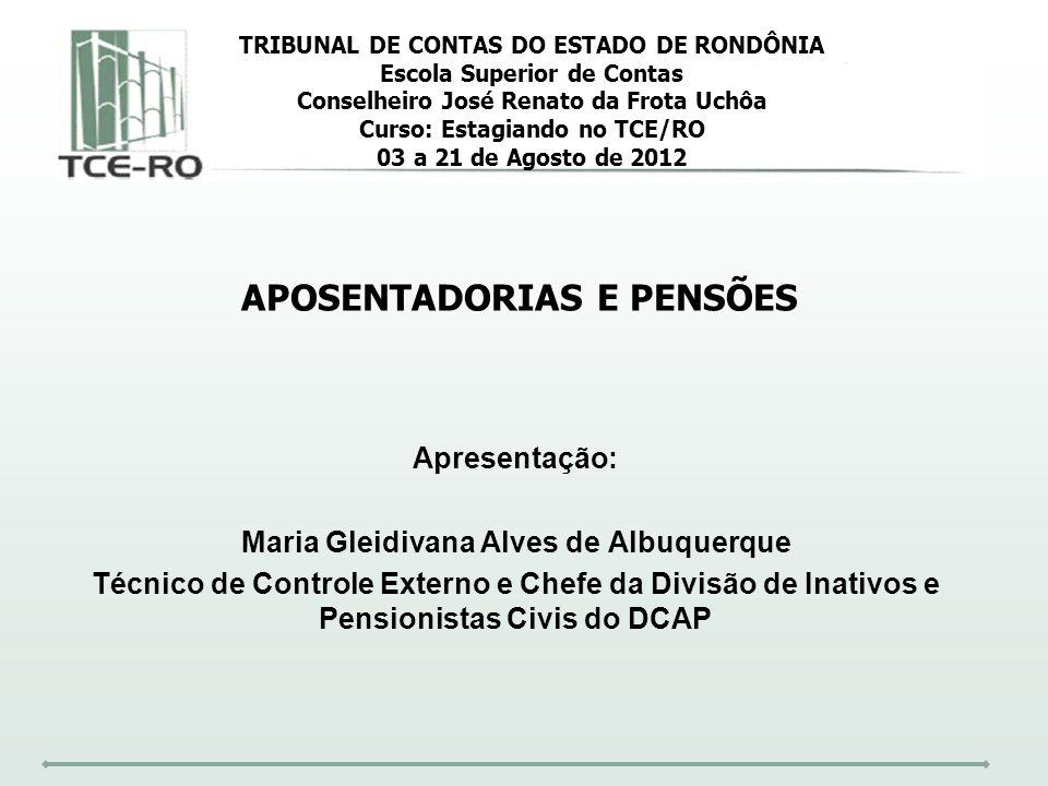 Apresentação: Maria Gleidivana Alves de Albuquerque Técnico de Controle Externo e Chefe da Divisão de Inativos e Pensionistas Civis do DCAP TRIBUNAL D
