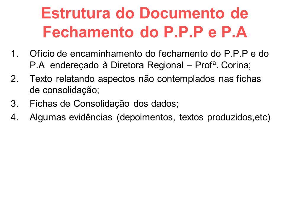 Estrutura do Documento de Fechamento do P.P.P e P.A 1.Ofício de encaminhamento do fechamento do P.P.P e do P.A endereçado à Diretora Regional – Profª.