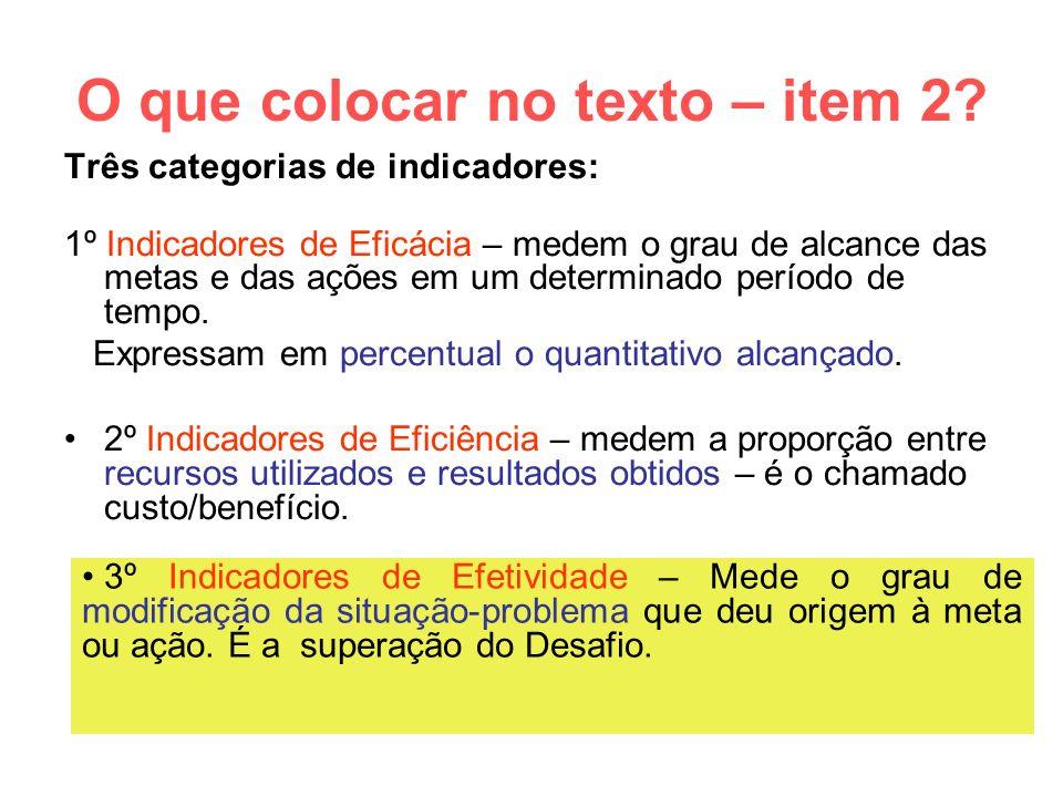 O que colocar no texto – item 2? Três categorias de indicadores: 1º Indicadores de Eficácia – medem o grau de alcance das metas e das ações em um dete