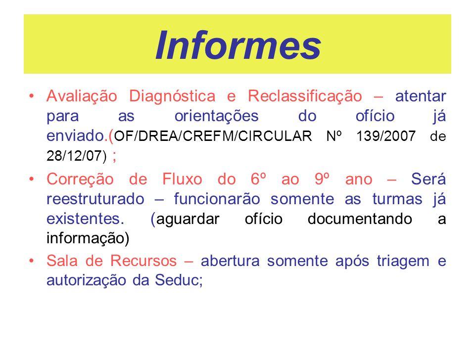 Informes Avaliação Diagnóstica e Reclassificação – atentar para as orientações do ofício já enviado.( OF/DREA/CREFM/CIRCULAR Nº 139/2007 de 28/12/07)
