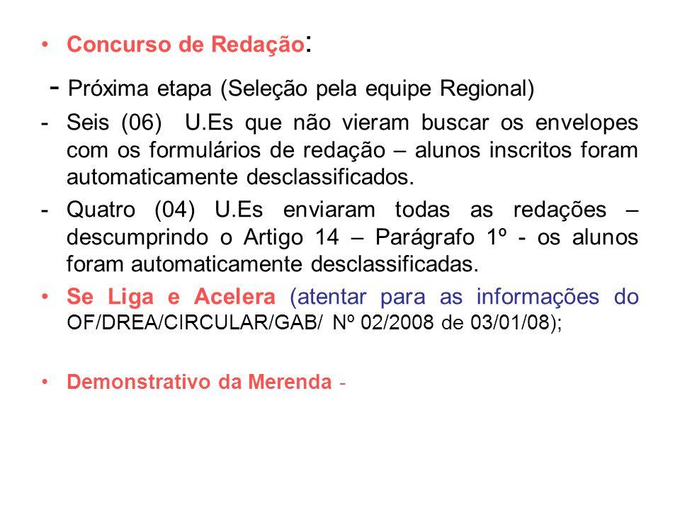 Concurso de Redação : - Próxima etapa (Seleção pela equipe Regional) -Seis (06) U.Es que não vieram buscar os envelopes com os formulários de redação
