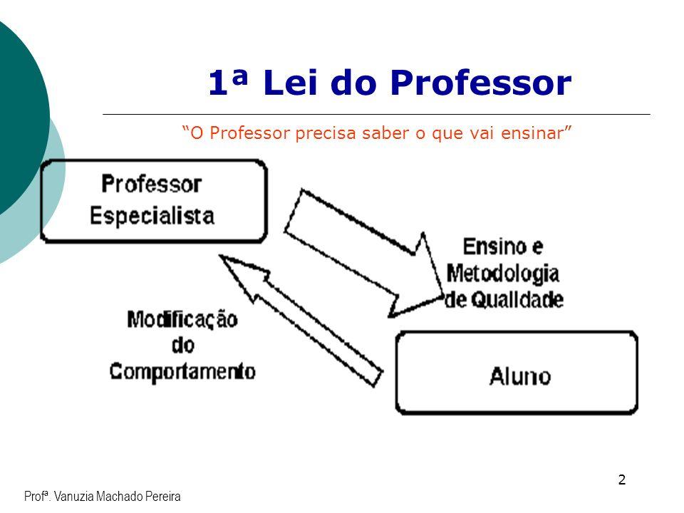 2 Profª. Vanuzia Machado Pereira 1ª Lei do Professor O Professor precisa saber o que vai ensinar