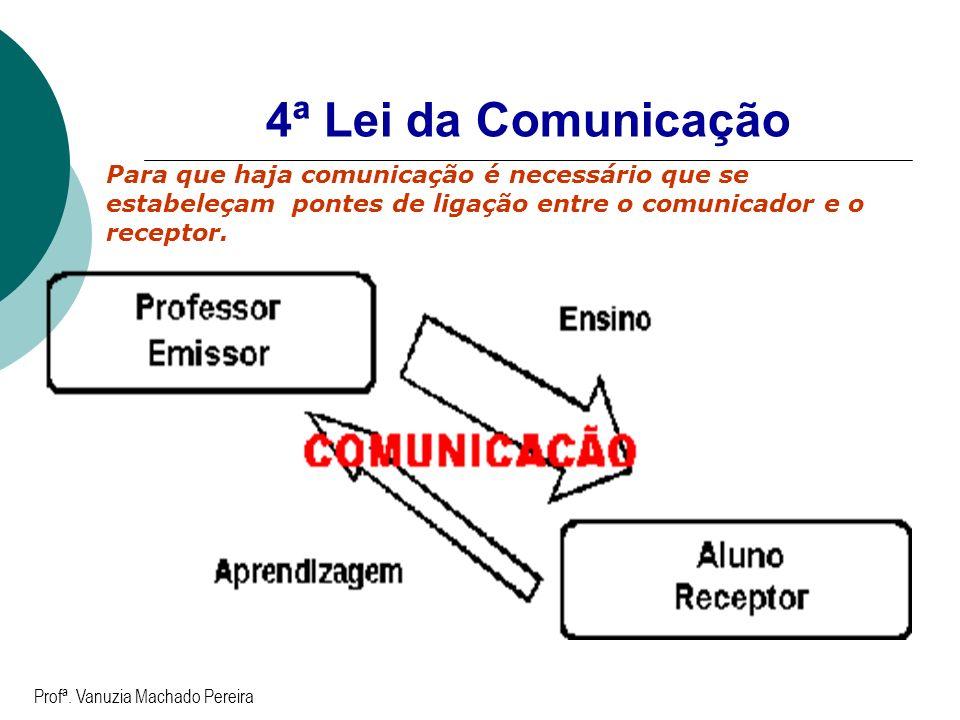 4ª Lei da Comunicação Para que haja comunicação é necessário que se estabeleçam pontes de ligação entre o comunicador e o receptor. Profª. Vanuzia Mac
