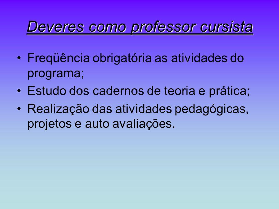 Deveres como professor cursista Freqüência obrigatória as atividades do programa; Estudo dos cadernos de teoria e prática; Realização das atividades p