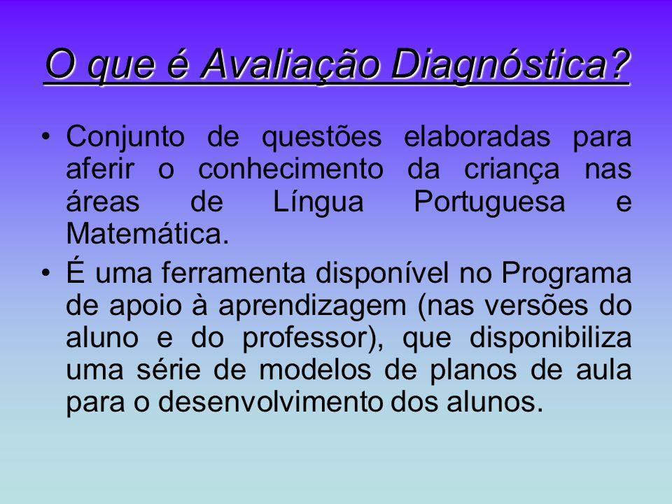 O que é Avaliação Diagnóstica? Conjunto de questões elaboradas para aferir o conhecimento da criança nas áreas de Língua Portuguesa e Matemática. É um