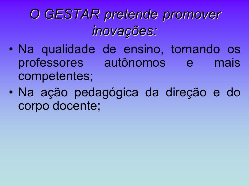 O GESTAR pretende promover inovações: Na qualidade de ensino, tornando os professores autônomos e mais competentes; Na ação pedagógica da direção e do