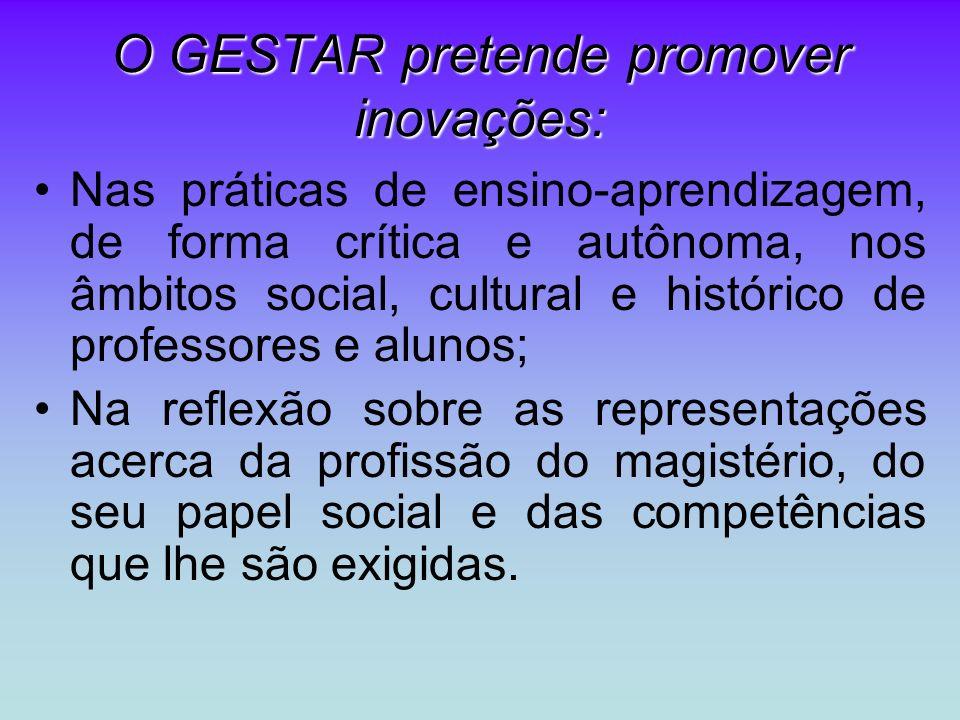 O GESTAR pretende promover inovações: Nas práticas de ensino-aprendizagem, de forma crítica e autônoma, nos âmbitos social, cultural e histórico de pr