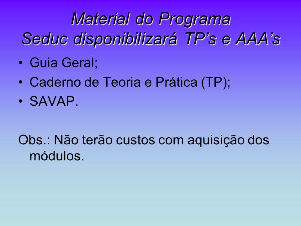Material do Programa Seduc disponibilizará TPs e AAAs Guia Geral; Caderno de Teoria e Prática (TP); SAVAP. Obs.: Não terão custos com aquisição dos mó