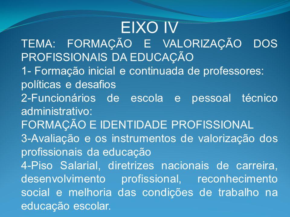 EIXO IV TEMA: FORMAÇÃO E VALORIZAÇÃO DOS PROFISSIONAIS DA EDUCAÇÃO 1- Formação inicial e continuada de professores: políticas e desafios 2-Funcionário