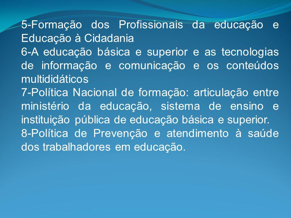 5-Formação dos Profissionais da educação e Educação à Cidadania 6-A educação básica e superior e as tecnologias de informação e comunicação e os conte