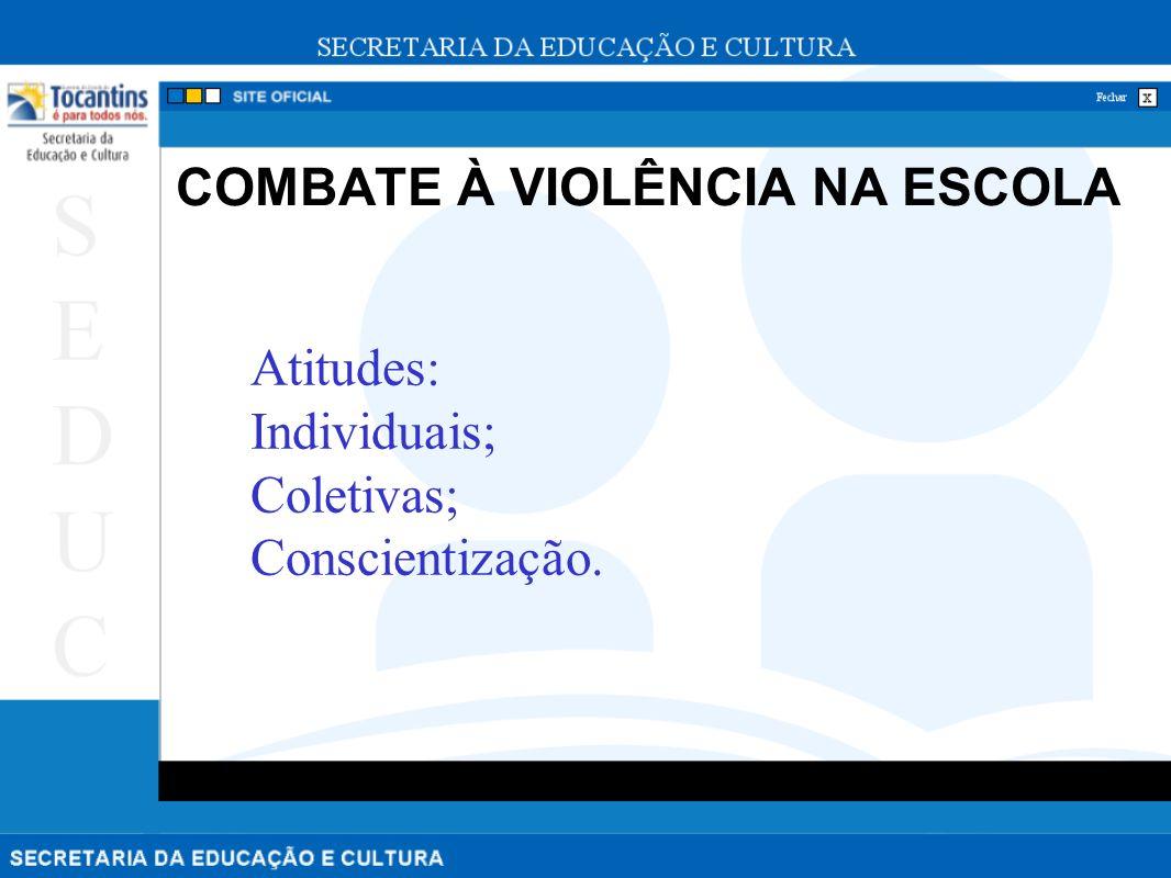 COMBATE À VIOLÊNCIA NA ESCOLA Atitudes: Individuais; Coletivas; Conscientização.