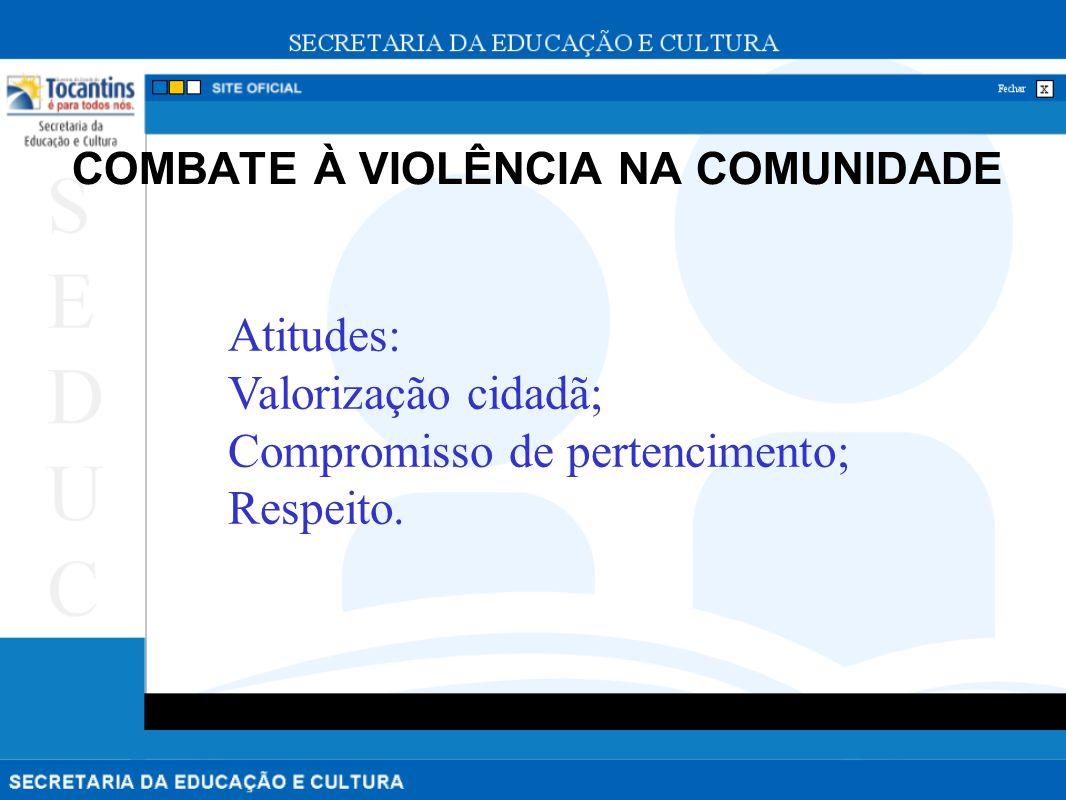 COMBATE À VIOLÊNCIA NA COMUNIDADE Atitudes: Valorização cidadã; Compromisso de pertencimento; Respeito.