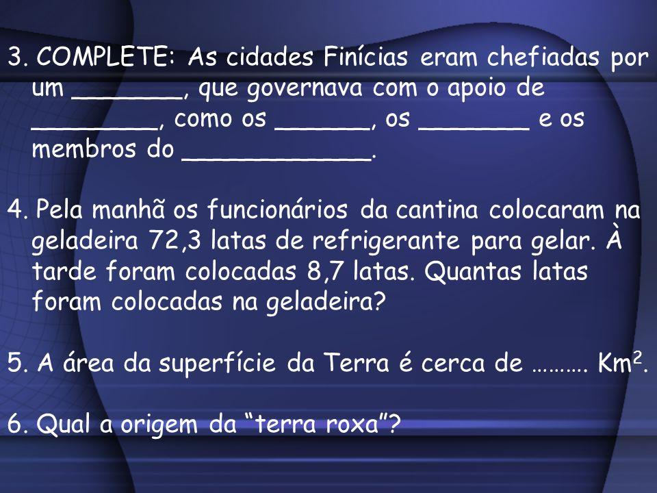 3. COMPLETE: As cidades Finícias eram chefiadas por um _______, que governava com o apoio de ________, como os ______, os _______ e os membros do ____