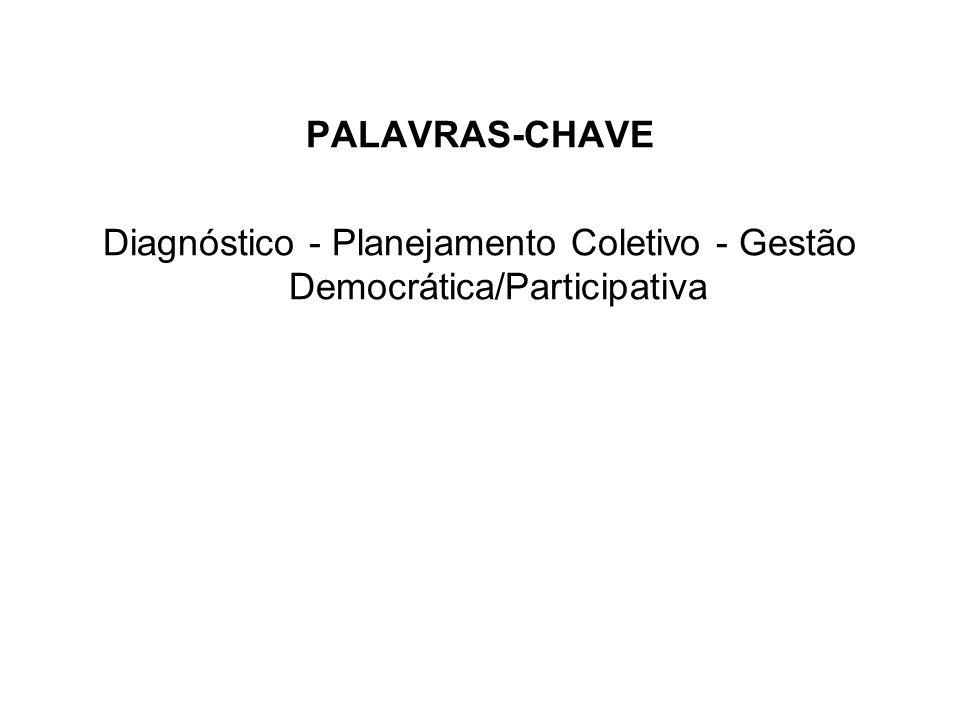PALAVRAS-CHAVE Diagnóstico - Planejamento Coletivo - Gestão Democrática/Participativa