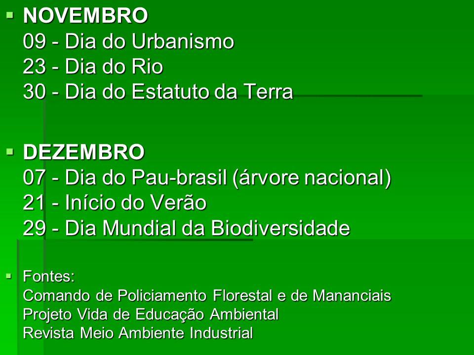 NOVEMBRO 09 - Dia do Urbanismo 23 - Dia do Rio 30 - Dia do Estatuto da Terra NOVEMBRO 09 - Dia do Urbanismo 23 - Dia do Rio 30 - Dia do Estatuto da Te