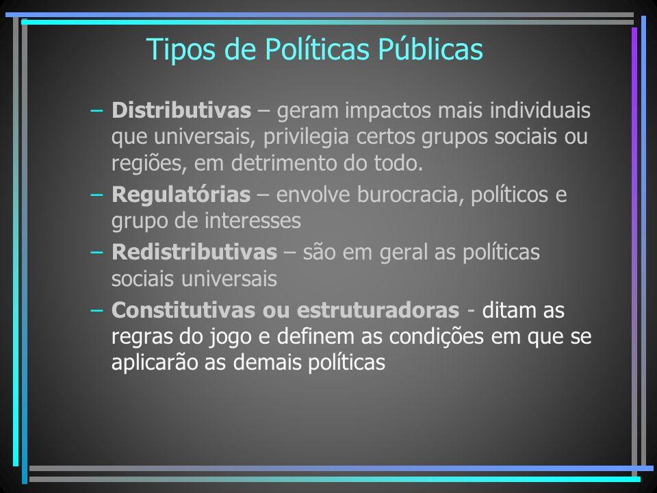 Tipos de Políticas Públicas –Distributivas – geram impactos mais individuais que universais, privilegia certos grupos sociais ou regiões, em detriment
