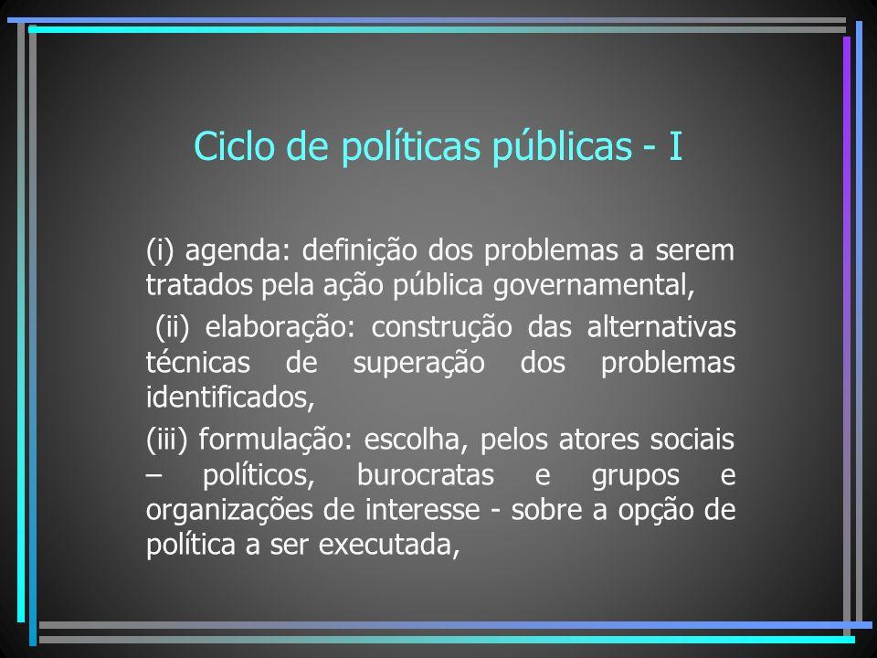 Ciclo de políticas públicas - I (i) agenda: definição dos problemas a serem tratados pela ação pública governamental, (ii) elaboração: construção das