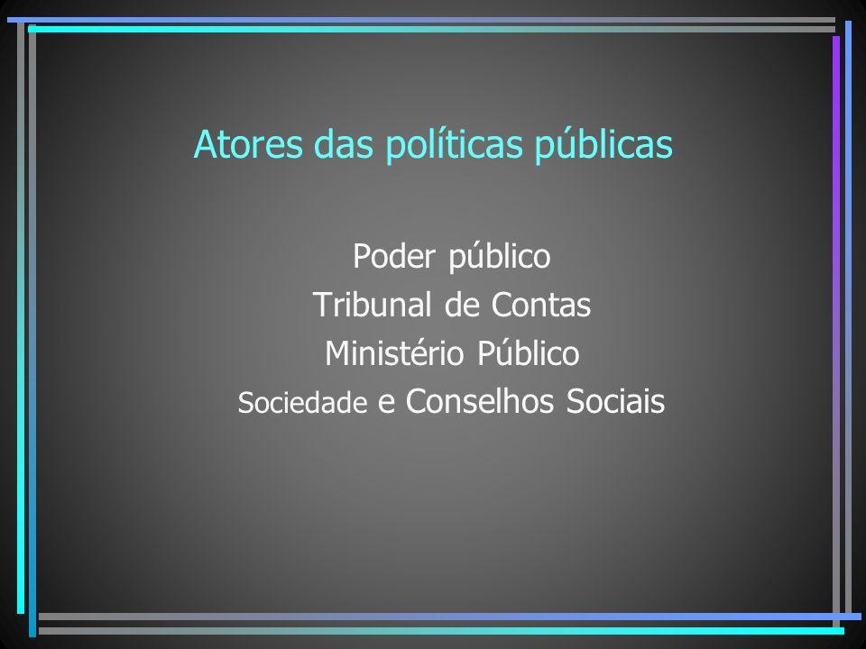 Atores das políticas públicas Poder público Tribunal de Contas Ministério Público Sociedade e Conselhos Sociais