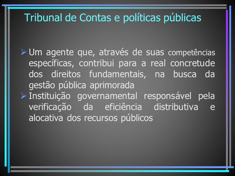 Tribunal de Contas e políticas públicas Um agente que, através de suas competências específicas, contribui para a real concretude dos direitos fundame