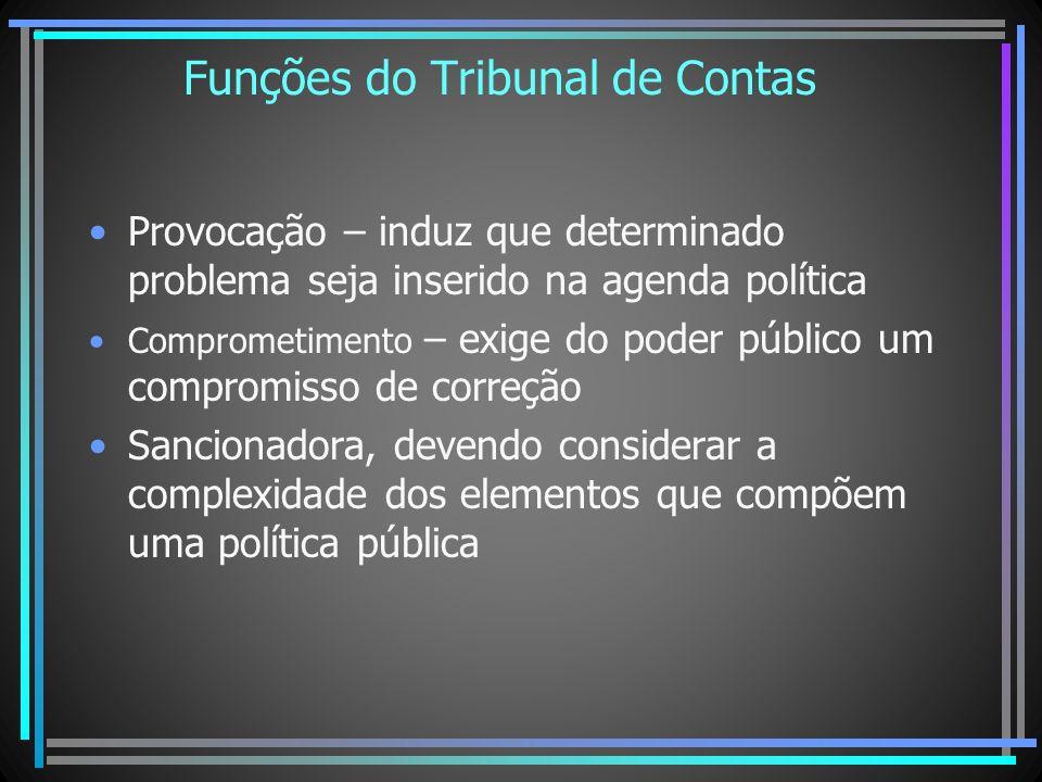 Funções do Tribunal de Contas Provocação – induz que determinado problema seja inserido na agenda política Comprometimento – exige do poder público um