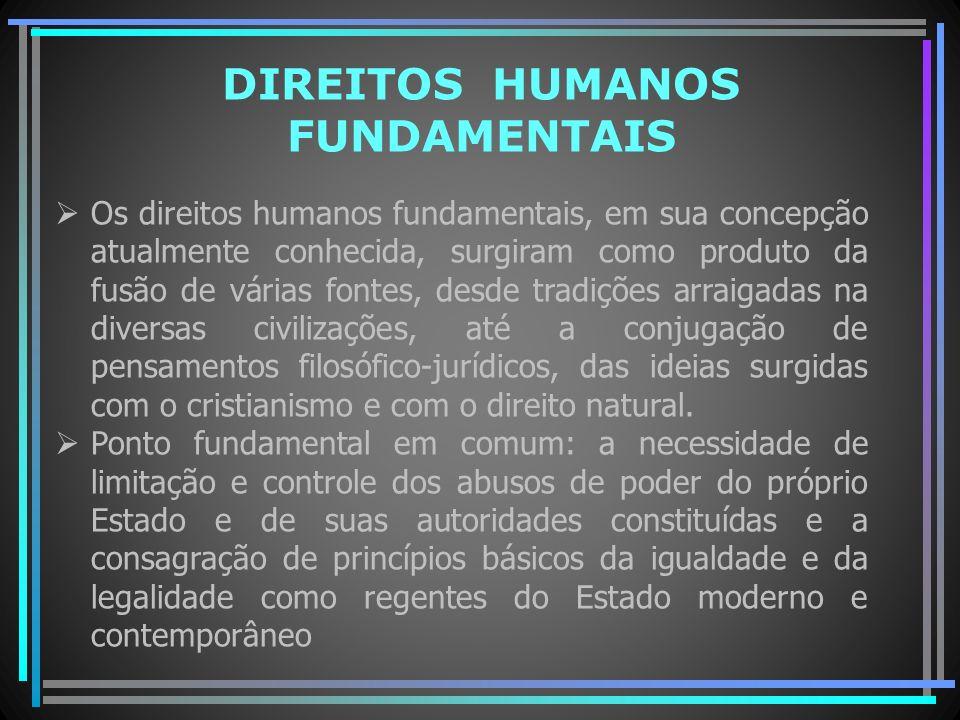 DIREITOS HUMANOS FUNDAMENTAIS Os direitos humanos fundamentais, em sua concepção atualmente conhecida, surgiram como produto da fusão de várias fontes