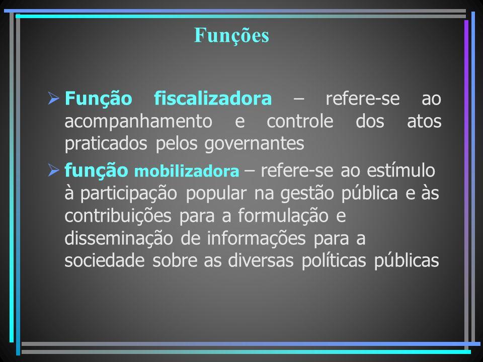 Funções Função fiscalizadora – refere-se ao acompanhamento e controle dos atos praticados pelos governantes função mobilizadora – refere-se ao estímul