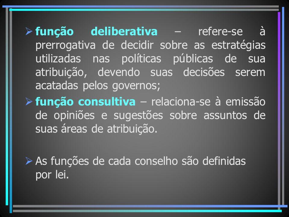 função deliberativa – refere-se à prerrogativa de decidir sobre as estratégias utilizadas nas políticas públicas de sua atribuição, devendo suas decis