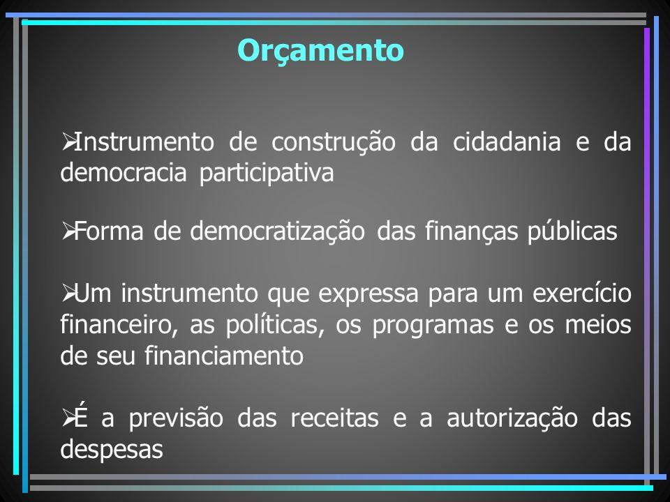 Orçamento Instrumento de construção da cidadania e da democracia participativa Forma de democratização das finanças públicas Um instrumento que expres