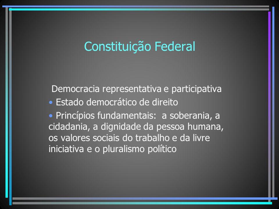 Constituição Federal Democracia representativa e participativa Estado democrático de direito Princípios fundamentais: a soberania, a cidadania, a dign