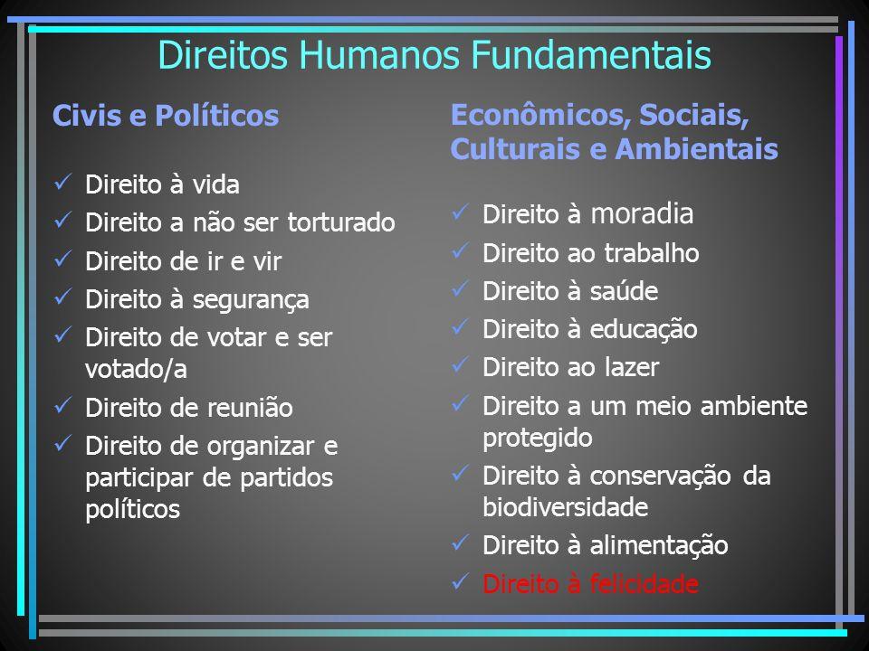 Direitos Humanos Fundamentais Civis e Políticos Direito à vida Direito a não ser torturado Direito de ir e vir Direito à segurança Direito de votar e