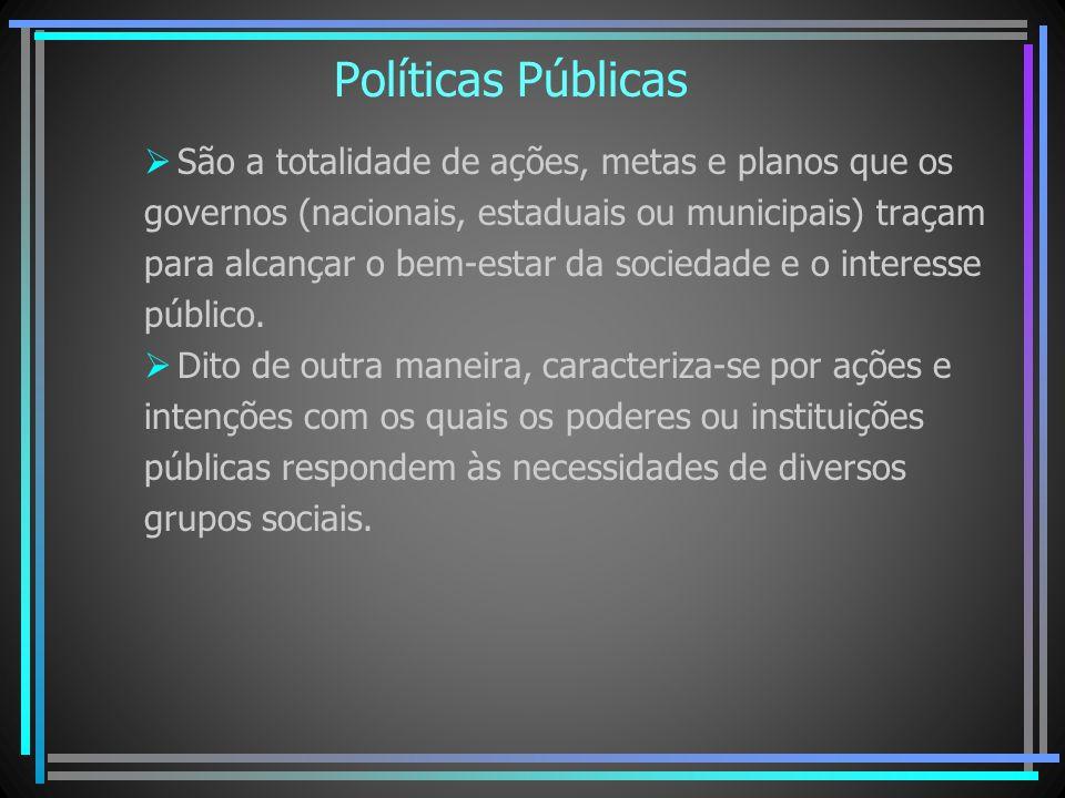 Políticas Públicas São a totalidade de ações, metas e planos que os governos (nacionais, estaduais ou municipais) traçam para alcançar o bem-estar da