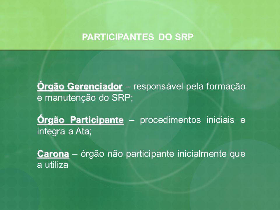 PARTICIPANTES DO SRP Órgão Gerenciador Órgão Gerenciador – responsável pela formação e manutenção do SRP; Órgão Participante Órgão Participante – proc