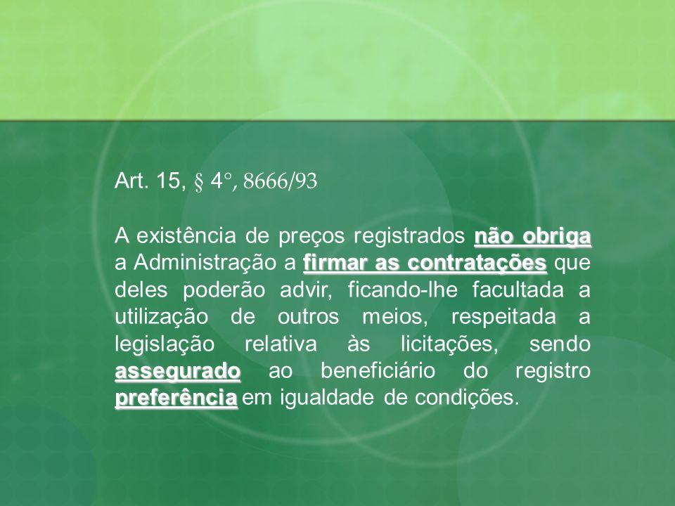 Art. 15, § 4 °, 8666/93 não obriga firmar as contratações assegurado preferência A existência de preços registrados não obriga a Administração a firma