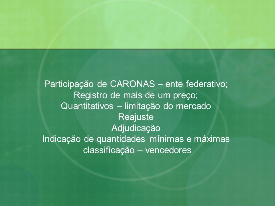 Participação de CARONAS – ente federativo; Registro de mais de um preço; Quantitativos – limitação do mercado Reajuste Adjudicação Indicação de quanti