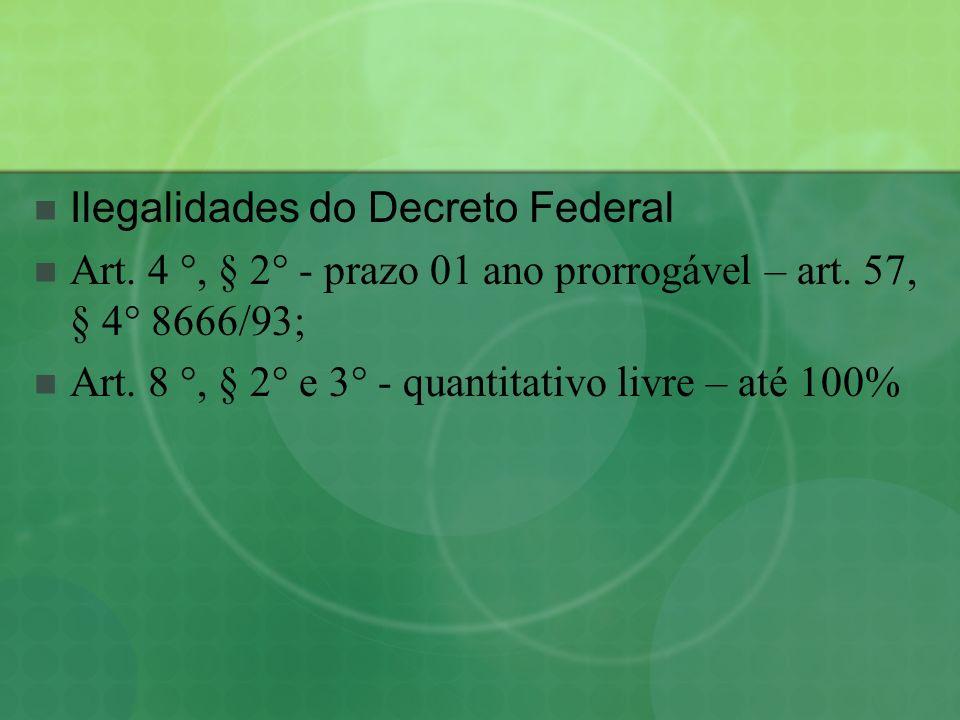 Ilegalidades do Decreto Federal Art. 4 °, § 2° - prazo 01 ano prorrogável – art. 57, § 4° 8666/93; Art. 8 °, § 2° e 3° - quantitativo livre – até 100%