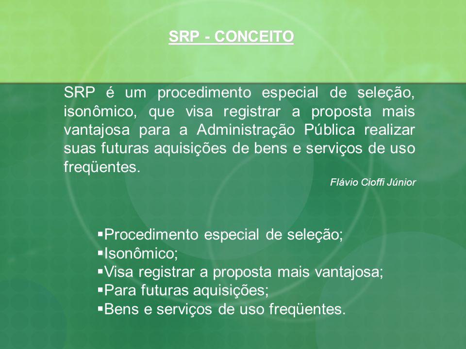 Procedimento especial de seleção; Isonômico; Visa registrar a proposta mais vantajosa; Para futuras aquisições; Bens e serviços de uso freqüentes. SRP