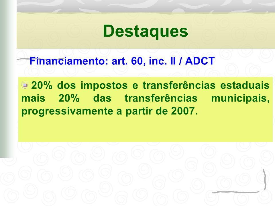 Destaques Financiamento: art. 60, inc. II / ADCT 20% dos impostos e transferências estaduais mais 20% das transferências municipais, progressivamente