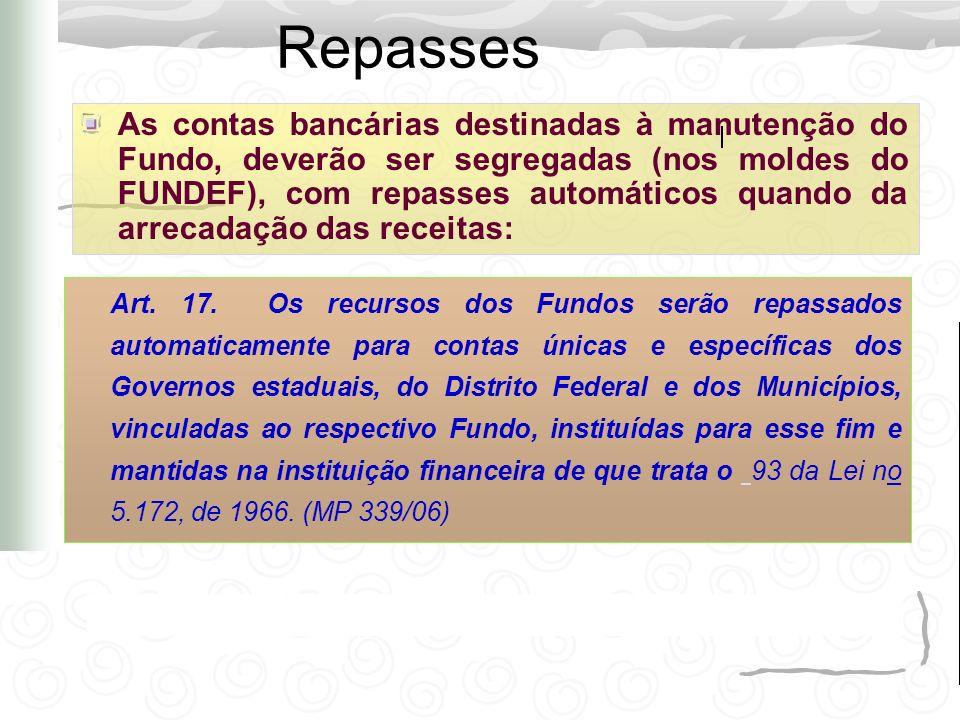 Repasses As contas bancárias destinadas à manutenção do Fundo, deverão ser segregadas (nos moldes do FUNDEF), com repasses automáticos quando da arrec