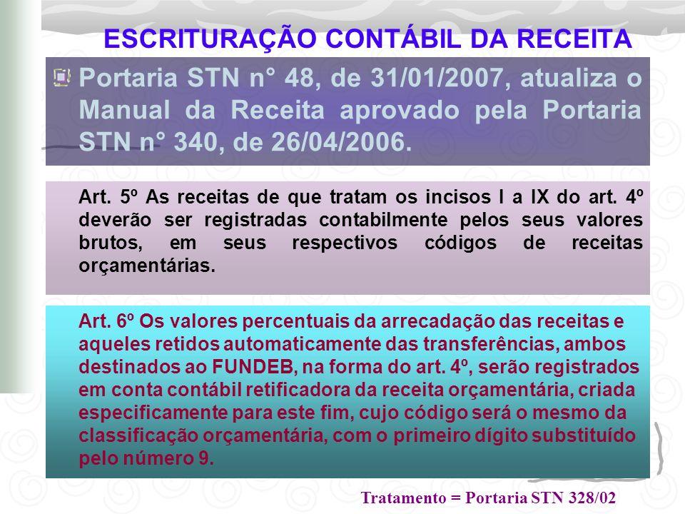 ESCRITURAÇÃO CONTÁBIL DA RECEITA Portaria STN n° 48, de 31/01/2007, atualiza o Manual da Receita aprovado pela Portaria STN n° 340, de 26/04/2006. Art