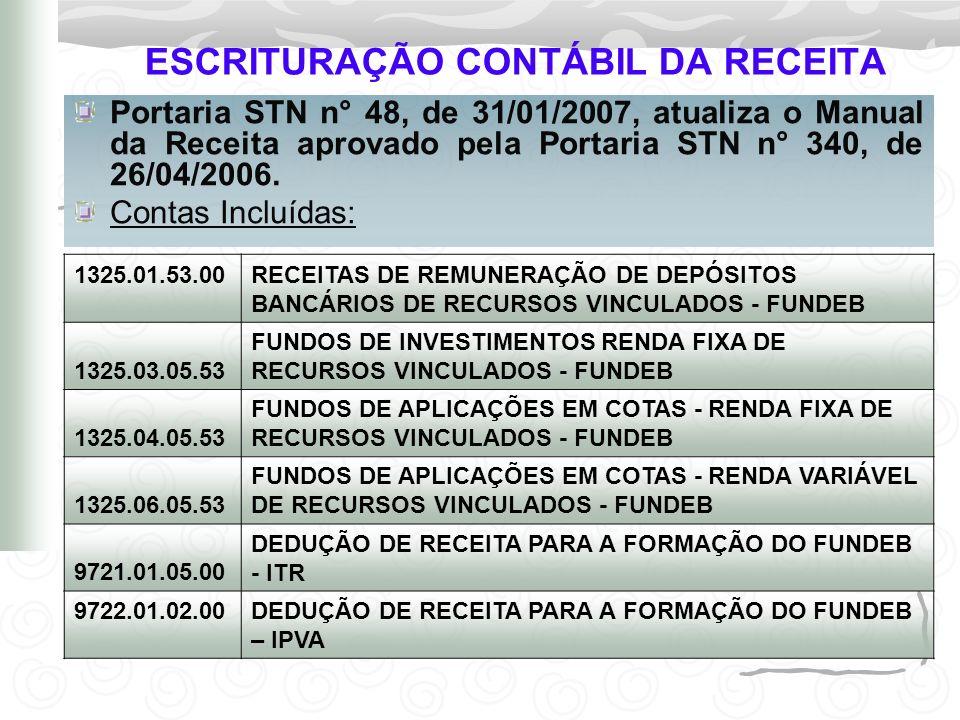 ESCRITURAÇÃO CONTÁBIL DA RECEITA Portaria STN n° 48, de 31/01/2007, atualiza o Manual da Receita aprovado pela Portaria STN n° 340, de 26/04/2006. Con