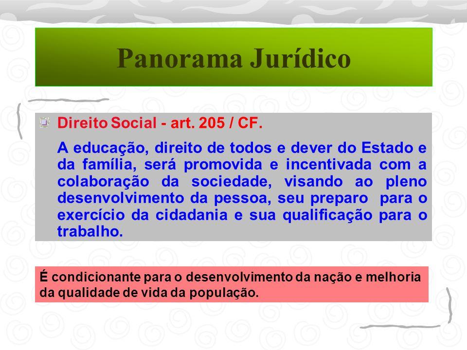 Panorama Jurídico Direito Social - art. 205 / CF. A educação, direito de todos e dever do Estado e da família, será promovida e incentivada com a cola