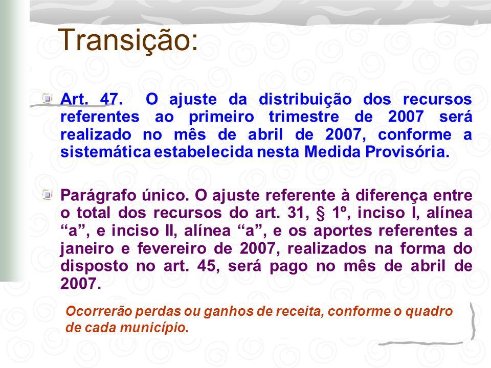 Transição: Art. 47. O ajuste da distribuição dos recursos referentes ao primeiro trimestre de 2007 será realizado no mês de abril de 2007, conforme a